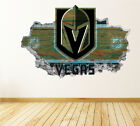 Vegas Golden Knights Wall Art Decal Hockey Team 3D Smashed Wall Decor WL61 $48.95 USD on eBay