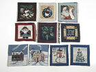 Santa Dog Holly Christmas Tree - Small Tapestry Fabric Quilt Panel ~ You Pick ~