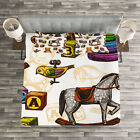 Vintage Quilted Bedspread & Pillow Shams Set, Old Retro Toys Birds Print
