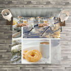 Winter Quilted Bedspread & Pillow Shams Set, Snow Cat Coffee Donuts Print image