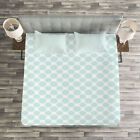 Pale Blue Quilted Bedspread & Pillow Shams Set, Elliptic Starry Bold Print image