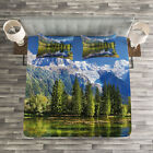 Outdoor Quilted Bedspread & Pillow Shams Set, Mountain Lake Evergreen Print image