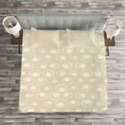 Tan Quilted Bedspread & Pillow Shams Set, Water Inspired Bubble Forms Print image