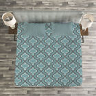 Turquoise Quilted Bedspread & Pillow Shams Set, Ethnic Shapes Rounds Print image