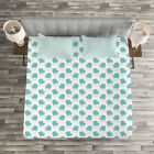 Turquoise Quilted Bedspread & Pillow Shams Set, Winter Snow Gloves Print image
