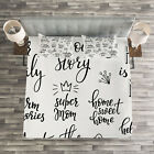 Inspirational Quilted Bedspread & Pillow Shams Set, Family Lettering Print image