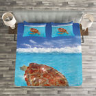 Turtle Quilted Bedspread & Pillow Shams Set, Chelonia Water Surface Print image