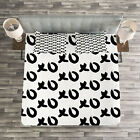 Xo Quilted Bedspread & Pillow Shams Set, Paintbrush Words Artwork Print image