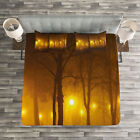 Fall Quilted Bedspread & Pillow Shams Set, Foggy Evening in the Park Print image