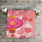 Lantern Quilted Bedspread & Pillow Shams Set, Cherry Blossom New Year Print