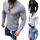 Mens Summer Cotton Linen T Shirt Henley Tops Casual Loose V Neck Long Sleeve Tee image