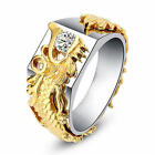 Mens Sliver Domineering Dragon Rings Gold Color White Sapphire Band Us Size 6-11