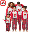US Stock Family Matching Christmas Pajamas Set Women Baby Kids Winter Sleepwear