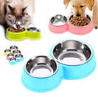 Dish Dog Bowls Twin Non slip 2 In 1 Dual Container Stainless Steel Puppy Cat