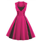 Womens Vintage 60s 50s Rockabilly Swing Pinup Slim Evening Party Skater Dress US