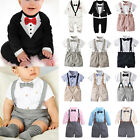 Baby Toddler Boy Wedding Christening Tuxedo Formal Bow Tie Suit Clothes Outfit