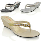 NEW WOMENS LOW HEEL WEDGE DIAMANTE SANDALS LADIES TOE POST SPARKLY SLIP ON SHOES