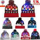 UK Kids Festival Bobble Beanie Hat LED Lights Boys Girls Winter Woolly Christmas