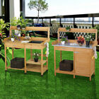 Garden Potting Bench Table Planting Work Benches Cabinet Shelf Outdoor Outside