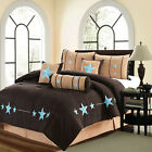 7PCS Brown Micro Suede Western Lodge Embroidery Blue Star Oversize Comforter Set image