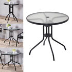 Circular/square Garden Table Tempered Glass Top And Powder-coated Steel Stand Uk