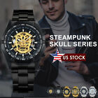 New Men's Skeleton Skull Stainless Steel Automatic Mechanical Sport Wrist Watch image