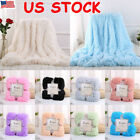 Luxury Long Pile Throw Sofa Bed Blanket Super Soft Faux Fur Warm Shaggy Cover US image