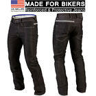 Mens Motorcycle Denim Jeans Black Biker Protective Lining Trouser Stylish Pants
