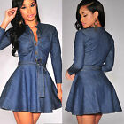 UK Women Summer Mini Denim Jeans Button Pocket Mini Shirt Wrap Dress Size 6 - 16