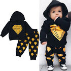 Active Infant Baby Boys Cotton Hooded Tops Shirt+Pants Trousers Outfits Cloth K8