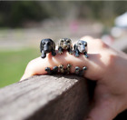 3Colors Vintage Cut Pug Dog Alloy Dachshund Wrapping Ring Adjustable Size Gift