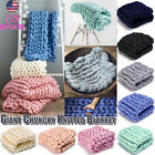 Merino Wool Blanket Mat Chunky Knitted Blanket Thick Yarn Throw Arm Knit Mat USA image