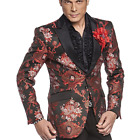 Angelino Savile Men's Two Button Modern Fit Exotic Blazer Sport Coat Black Red