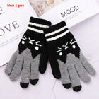 Stretch Phone Touch Cat Printing Wool Knitted Touch Screen Women Warm Gloves