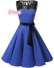 Damen Retro Swing Rockabilly Partykleid Abendkleid Ballkleid Club Spitzenkleid