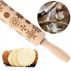 "43CM/35CM  14""/17"" Wooden Rolling Pin Flower  Embossing Baking Cookies Biscuit"