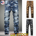 Fashion Men Moto Biker Jeans Straight Slim Fit Denim Casual Pants Distressed US
