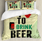 Quote Duvet Cover Set with Pillow Shams Love Beer Grunge Hand Print