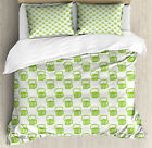 Green Duvet Cover Set with Pillow Shams Foamy Cute Beer Glasses Print