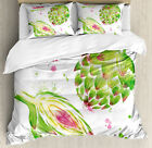 Artichoke Duvet Cover Set with Pillow Shams Watercolor Super Food Print image