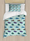 Cars Duvet Cover Set with Pillow Shams Abstarct Design Retro Ride Print