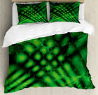 Lime Green Duvet Cover Set with Pillow Shams Psychedelic Blurry Print
