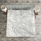Marble Quilted Bedspread & Pillow Shams Set, Fracture Lines and Veins Print image