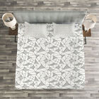 Abstract Quilted Bedspread & Pillow Shams Set, Geometric Line Art Print image