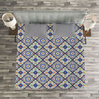 Geometric Quilted Bedspread & Pillow Shams Set, Morrocan Ornament Print image