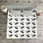 Swan Quilted Bedspread & Pillow Shams Set, Aquarelle Black Birds Print