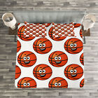 Basketball Quilted Bedspread & Pillow Shams Set, Happy Emoticon Balls Print image