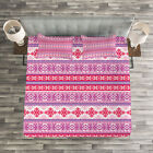 Nordic Quilted Bedspread & Pillow Shams Set, Geometric Snow December Print image