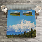 Alaska Quilted Bedspread & Pillow Shams Set, Snow Covered Mountain Print image