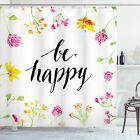 Quote Shower Curtain Positive Vibes Be Happy Print for Bathroom